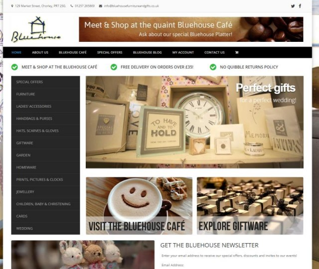 Bluehouse Furniture and Gifts - NRD Media website design Chorley