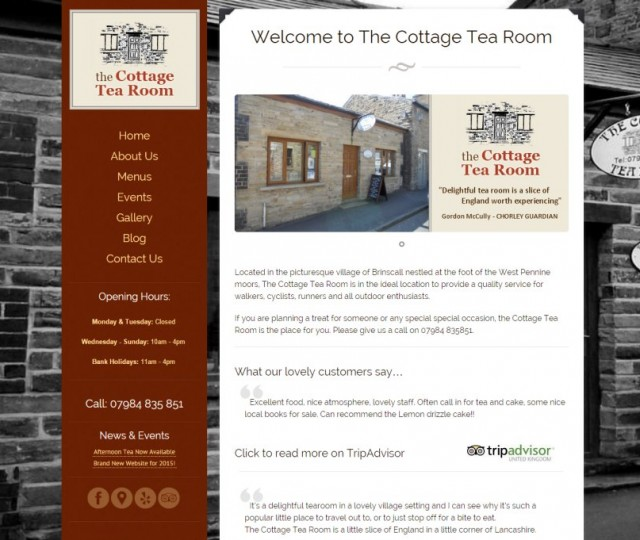 The Cottage Tea Room - NRD Media website design Chorley